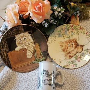 Two kitten Classic plates and coffee mug.